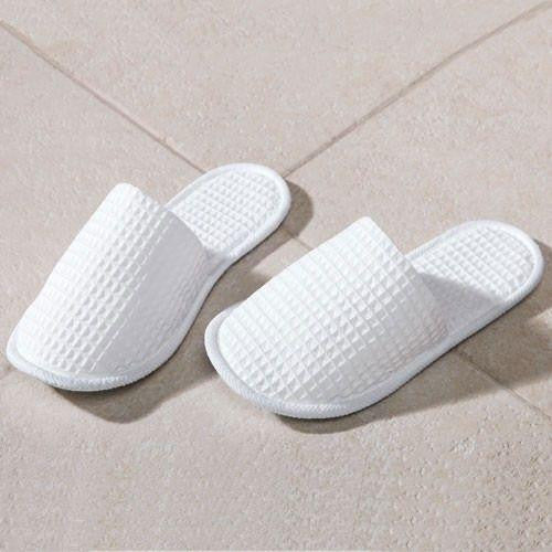 Waffle Closed Toe Wholesale Spa Slippers Cheap - White, Slippers