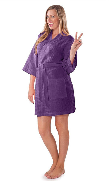 Wholesale Short Waffle Knit Bathrobe for Women - Purple, Terry Cloth Robes