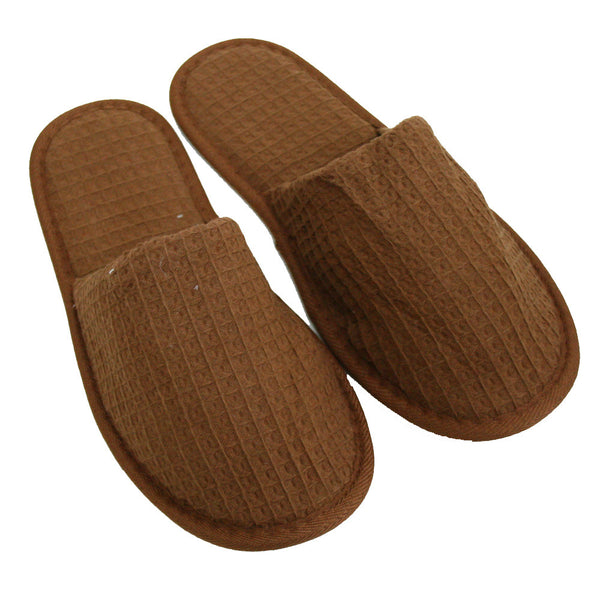 Waffle Weave Spa Slippers, Personalized Shower Gym House Slippers Wholesale - Brown, Slippers