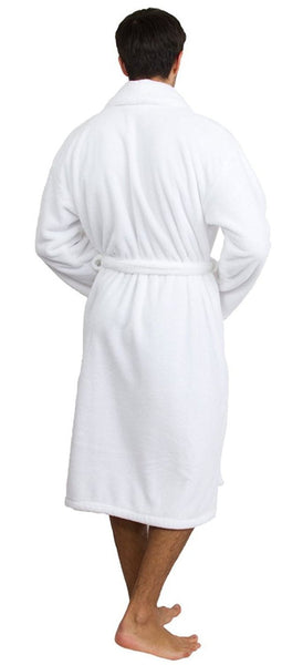 Water Absorbent Micro Fleece Shawl Collar Robe - White, Fleece Robes