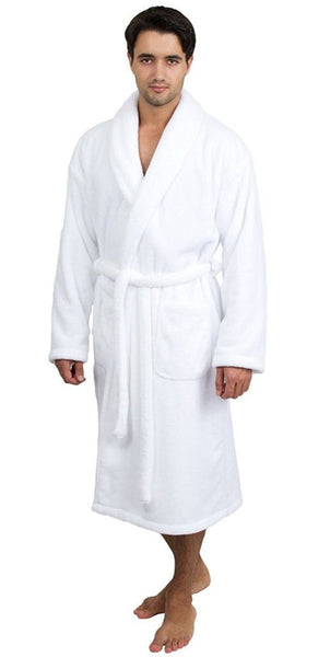 Microfleece Spa Robe with Elegant Shawl Collar - White, Spa/Hotel Robes