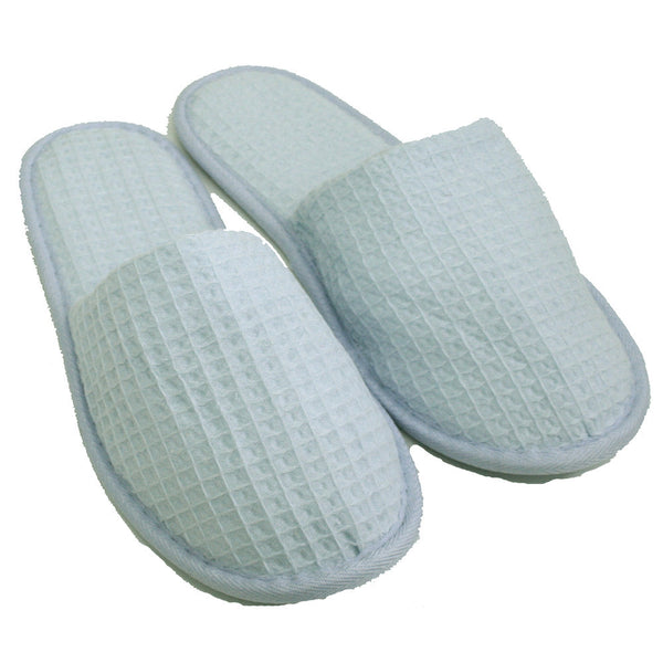 Wholesale Cotton Waffle Indoor House Spa Hotel Closed Toe Slippers - Sky Blue, Slippers