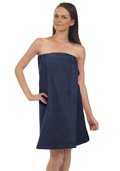 Wholesale Spa Wrap Terry Velour Towel with Adjustable Closure - Navy Blue, Bath Wraps
