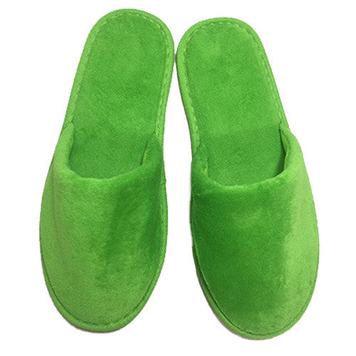 Wholesale Velour Hotel Adult Slippers Closed Toe - Apple Green