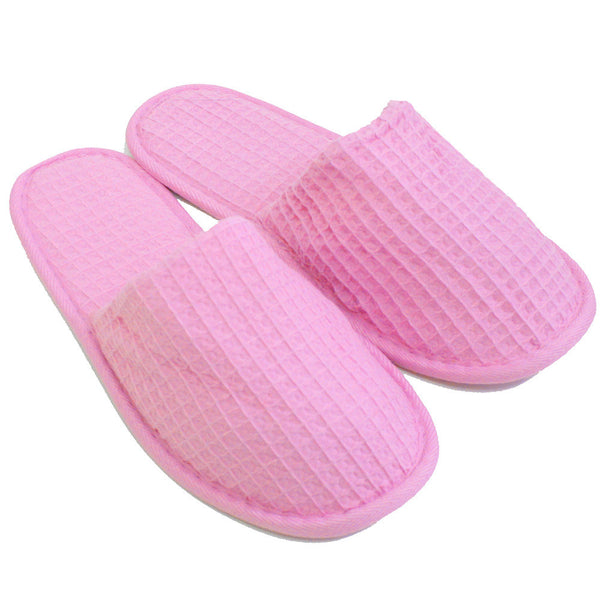 Women's Waffle Closed Toe Slippers, Wholesale Cheap Spa Hotel Slippers - Pink, Slippers