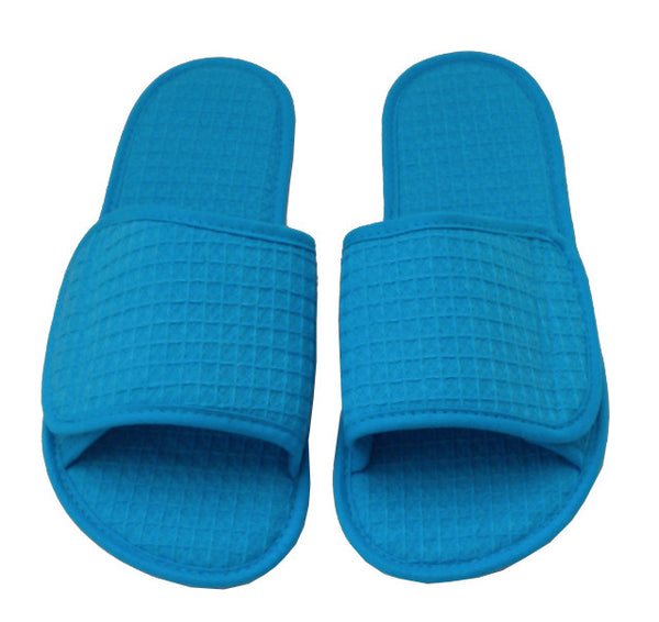 Waffle Texture Hotel Slippers with Open Toe - Aqua, Slippers