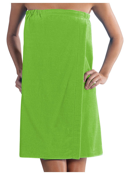 Women's Bath Towel Wrap with Adjustable Velcro - Green, Bath Wraps