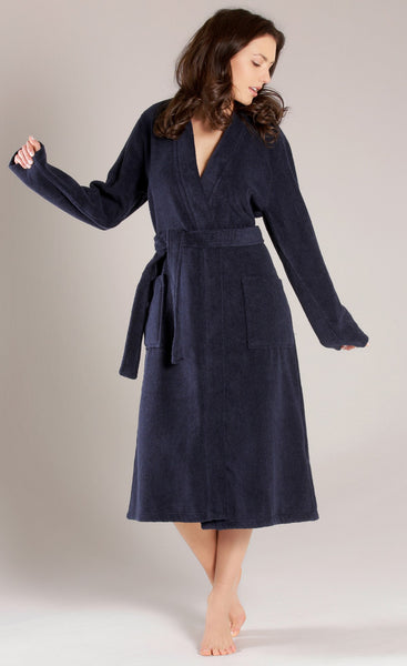 Women's Terry Cloth Bath Robe in Mid-Calf Length - Navy Blue, Terry Cloth Robes