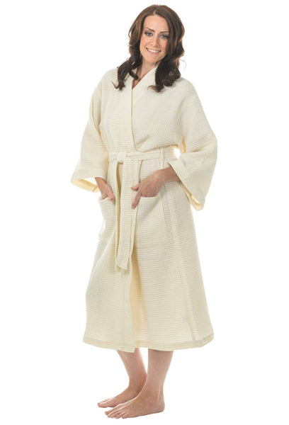 Cotton Waffle Weave Spa Robe - Beige, Terry Cloth Robes
