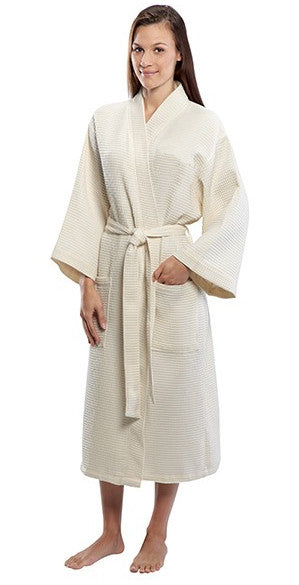 Women's Full Length Cotton Waffle Weave Kimono Bathrobe - Beige, Terry Cloth Robes