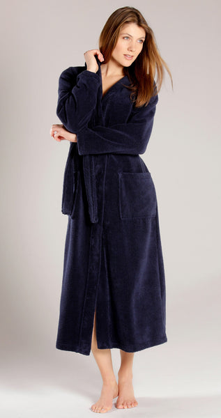 ... Women s Full Length Hooded Terry Velour Robe - Navy Blue 46224d61ae