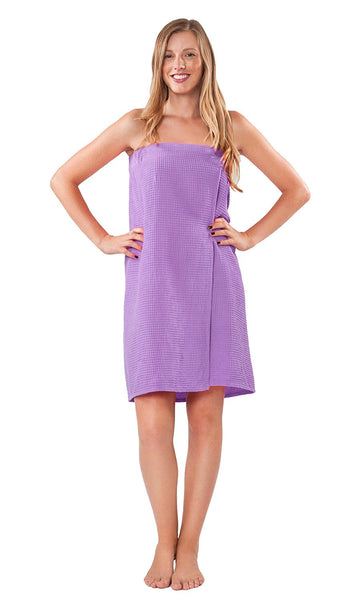 Women's Light Weight Waffle Knit Robe - Lavender, Bath Wraps