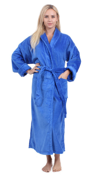 Women's Luxury Shawl Collar Toweling Robe - Royal Blue, Terry Cloth Robes