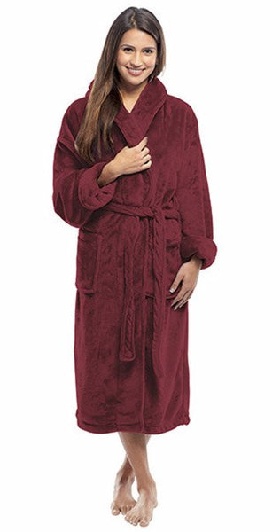 Hotel Bath Robe with Fleece Shawl Collar - Burgundy, Spa/Hotel Robes