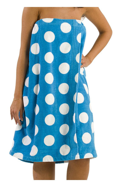 Women's Polka Dot Terry Velour Shower Wrap - Blue, Bath Wraps