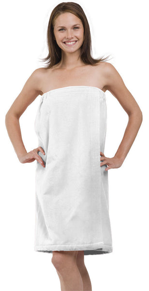 Women's Terry Velour Spa After Shower Wrap - White, Bath Wraps
