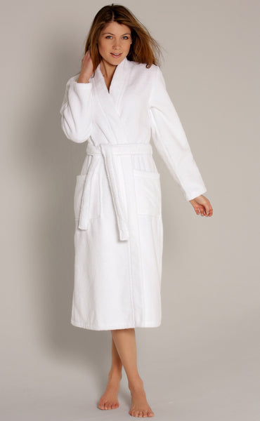 Women's Velour Terry Kimono Bathrobe - White, Terry Cloth Robes