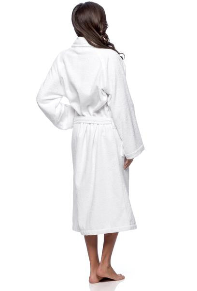 Wholesale Hotel Terry Velour Shawl Collar Bathrobe - White, Terry Cloth Robes