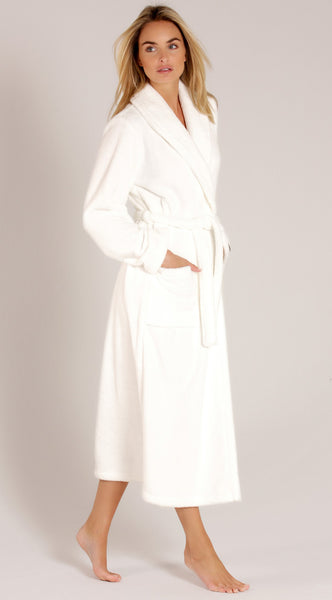 Women's White Terry Velour Shawl Collar Robe - White, Terry Cloth Robes