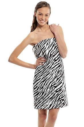 Women's Zebra Print Terry Velour Body Wrap, Bath Wraps