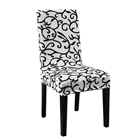 uxcell Stretchy Dining Chair Cover Short Chair Covers Washable Protector Seat Slipcover For Wedding Party Restaurant Banquet Home Decor (White + Black)