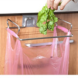 Metal Hanging Garbage Bags Rack Kitchen Wash Cloth Towel Storage Holders Wall Hanging Cupboard Cabinet Stand Organizer Shelf