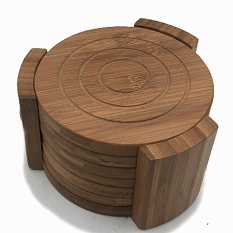 Bamboo Coaster Set with Holder 6 pcs