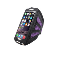 Purple running case with white iPhone