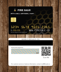 Both Sides Of A Gift Card on a wood background With Gold Numbers And Branding In White Lettering