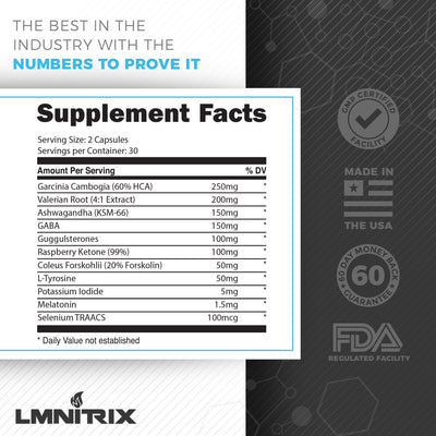 LMNITRIX NYTESHRED ✮ Sleep Aid Fat Burner Supplement ✮ 60ct