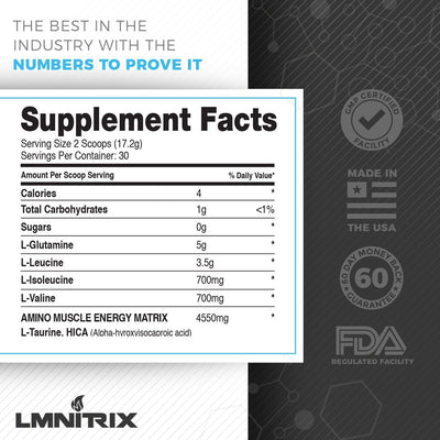 LMNITRIX BCAA ✮ Amino Acid & Recovery Supplement ✮ Men & Women ✮ 60 scoops