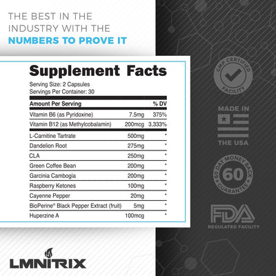 LMNITRIX CUTZ-NS ✮ Natural Fat Burner Supplement ✮ Men & Women ✮ 60 ct