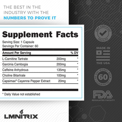 LMNITRIX MELT ✮ Thermogenic Fat Burner Supplement ✮ Men & Women ✮ 60 ct