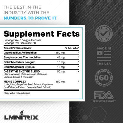 LMNITRIX PROBIOTIC FOR MEN ✮ Aid Digestive Health & Immunity ✮ 30 ct