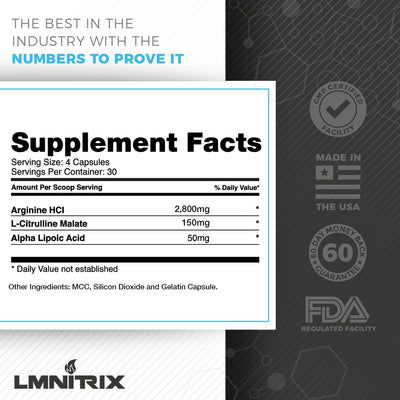 LMNITRIX VEINZ ✮ Nitric Oxide Muscle Mass Supplement ✮ 120 ct