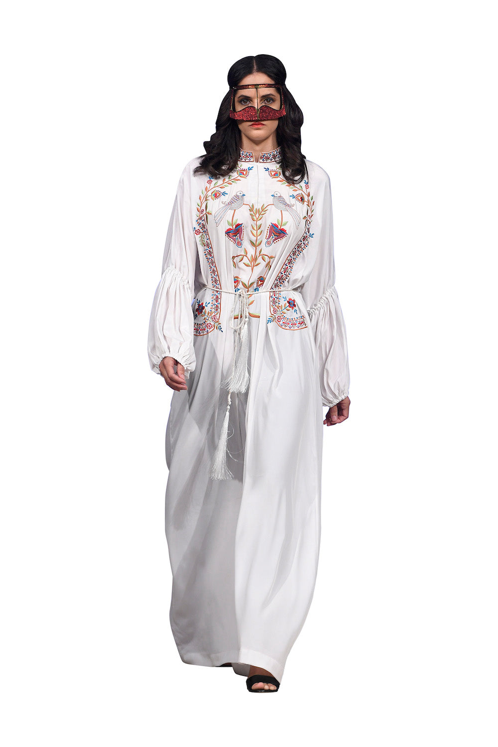 White Embroidery Abaya