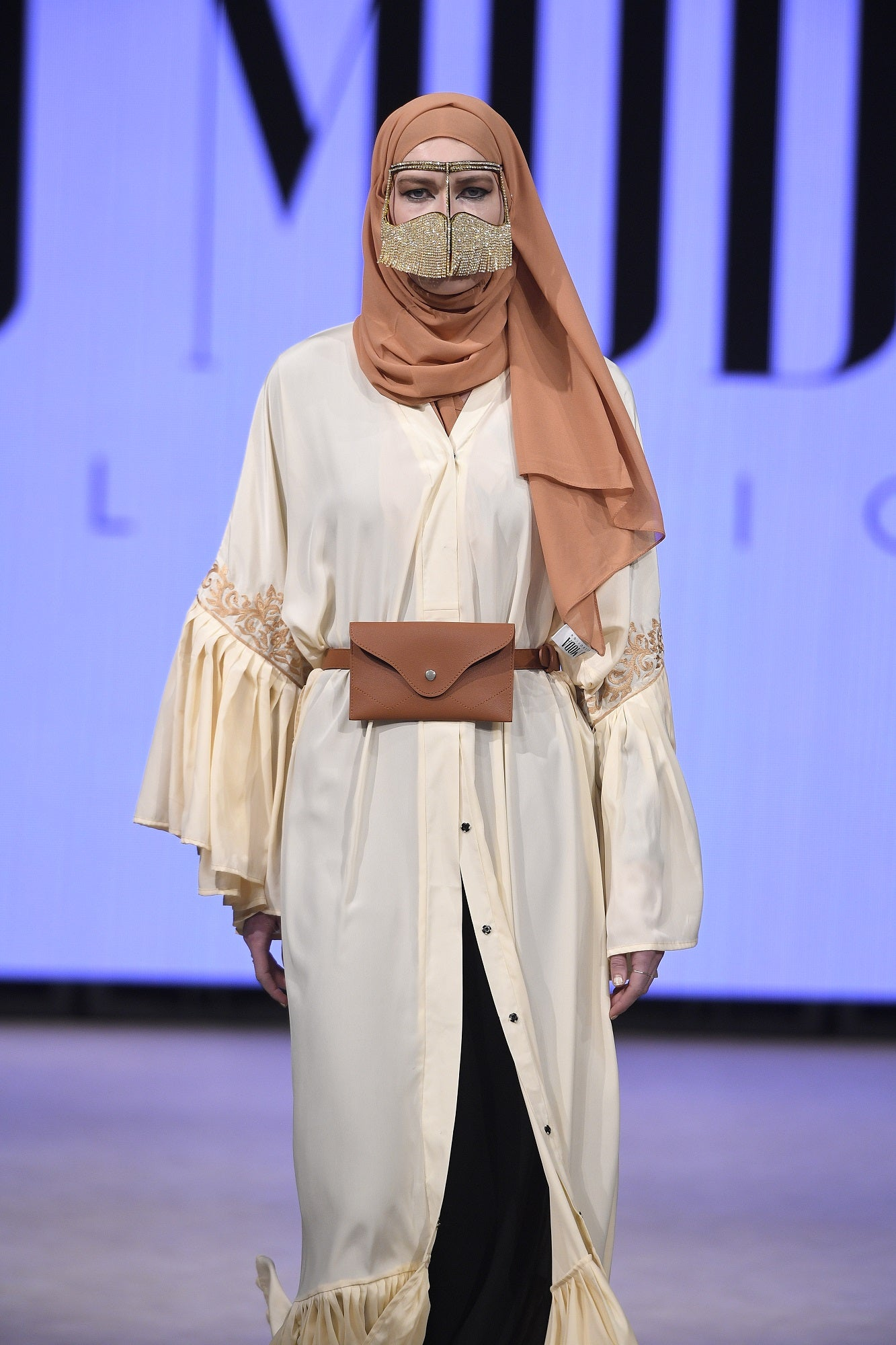 Ivory Pleated Abaya