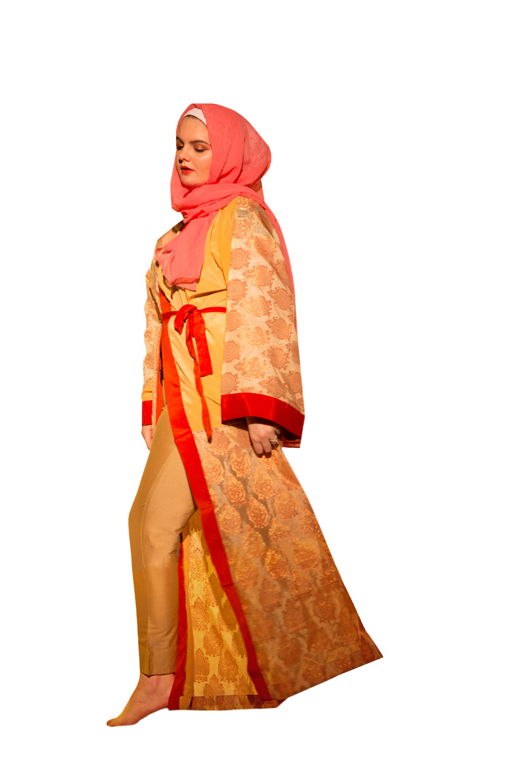 Luxurious Two Tone Pure Brocade Silk Kimono Abaya