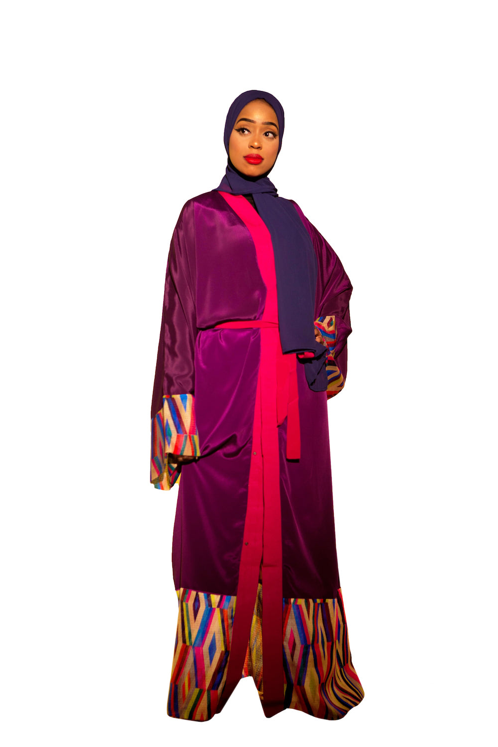 Purple Diamond Patterned Kimono Abaya