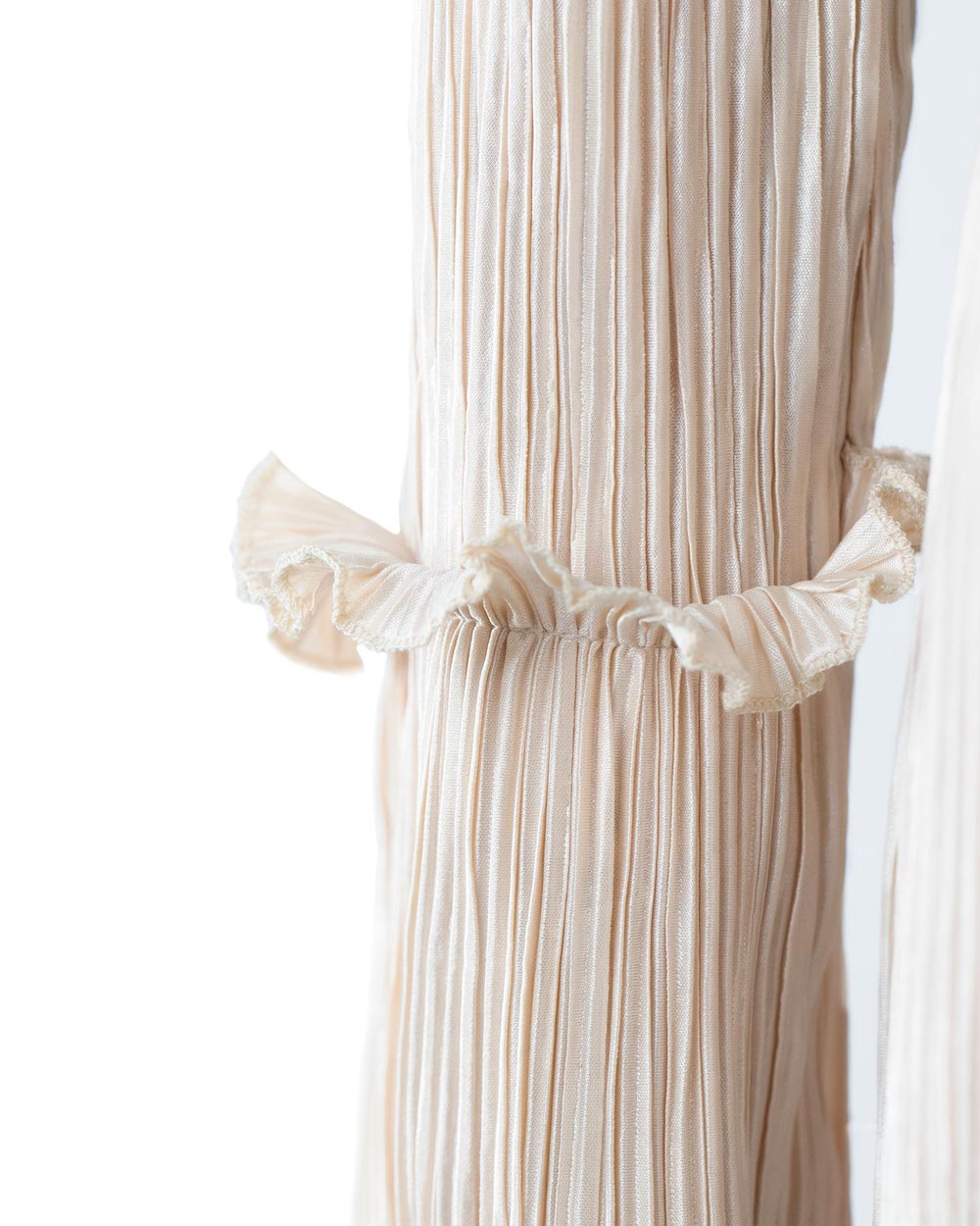 Beige Pleated Dress Abaya