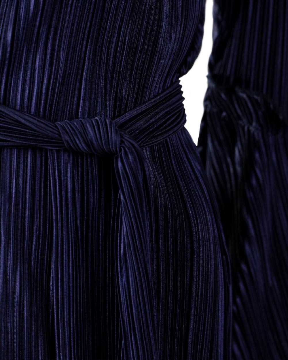 Navy Blue Wrap Pleated Dress