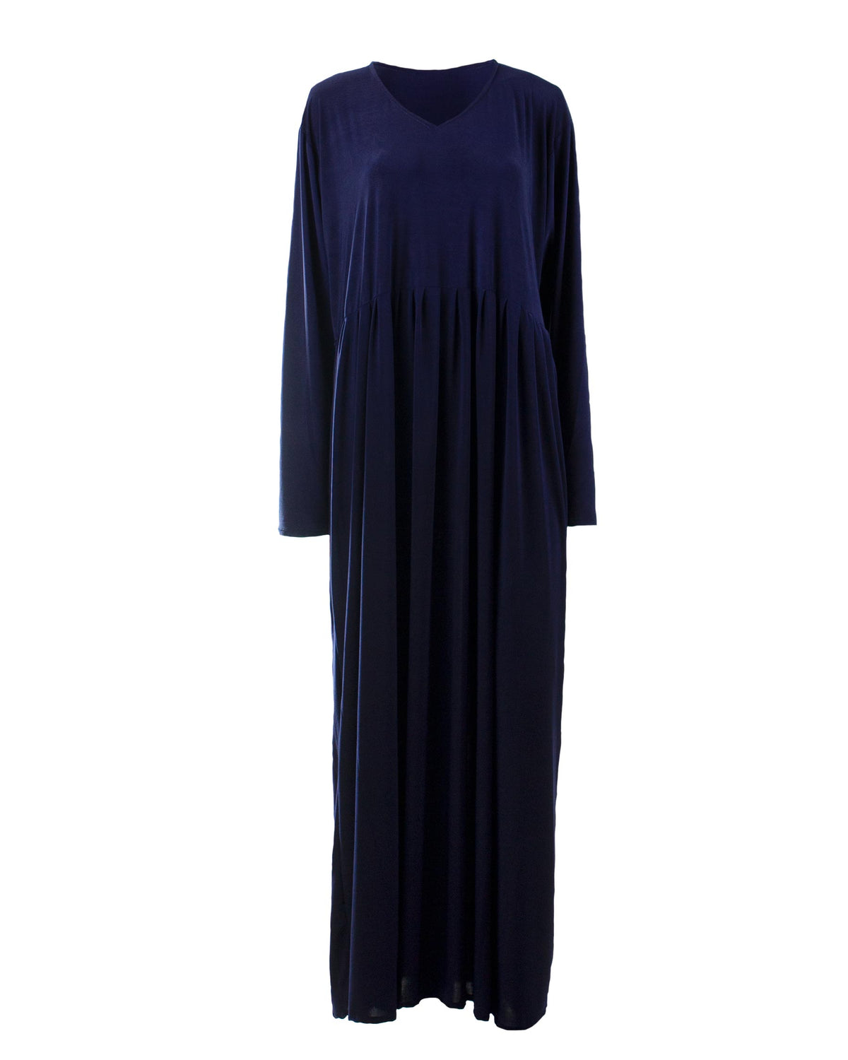Navy Blue Pleated Jersey Abaya