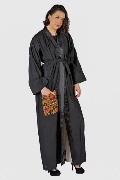 Cotton Black Embroidered Kimono Abaya