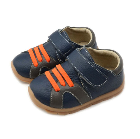 Casual Leathers in Navy Blue - Toddler & Children Shoes - Ankle-Biters - 1