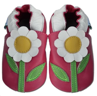 Fuchsia Flower - Soft Sole Leather Shoes - Ankle-Biters - 1