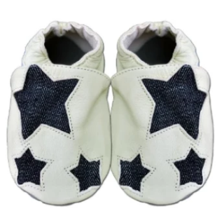 Vintage Denim Stars - Soft Sole Leather Shoes - Ankle-Biters - 1