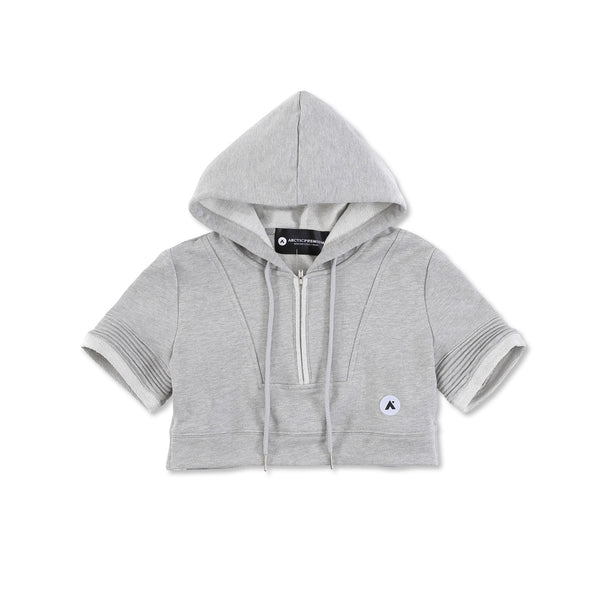 """Elise"" Crop Hoody (Heather Grey)"