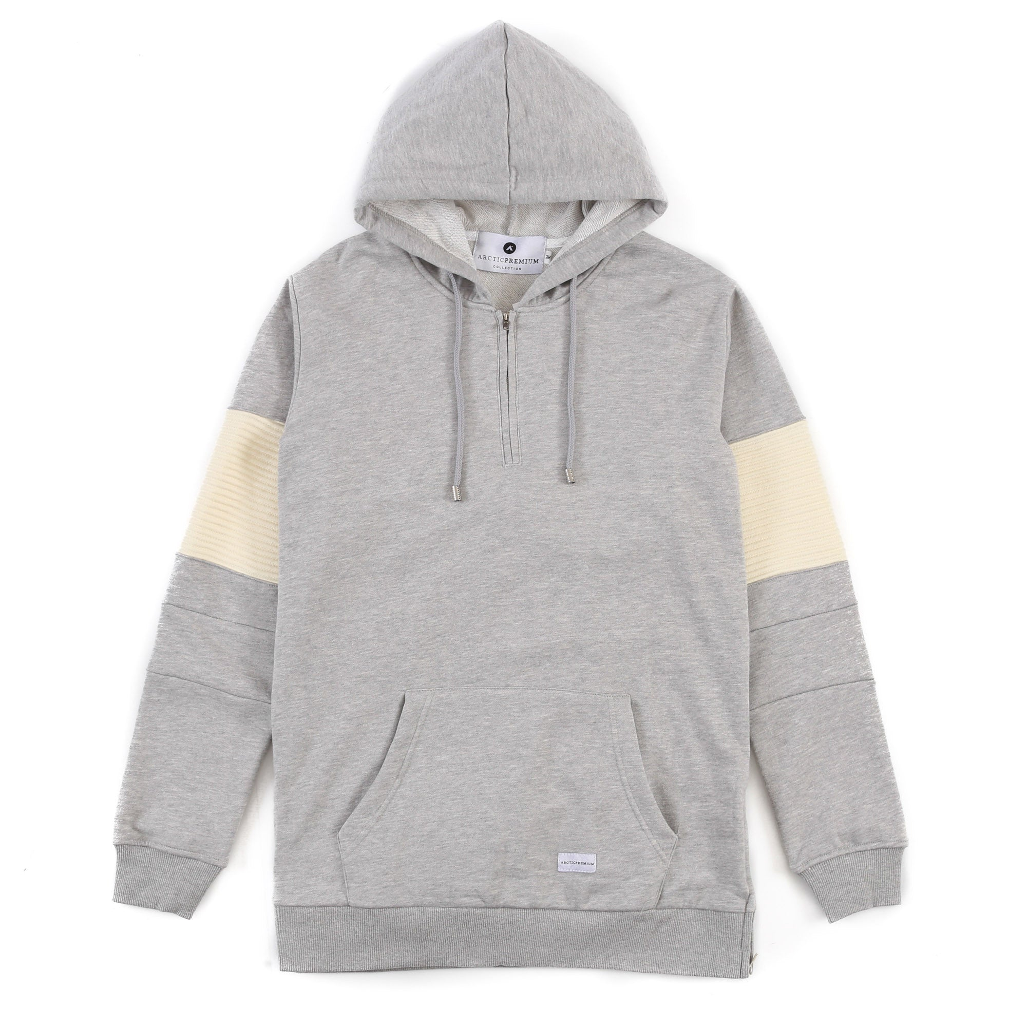 """Baldwyn"" 2 tone Moto Hoody (Heather/Cream)"