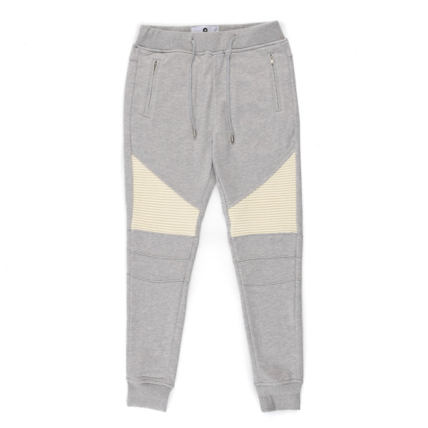 """Baldwyn"" 2 Tone Moto Jogger (Heather/Cream)"