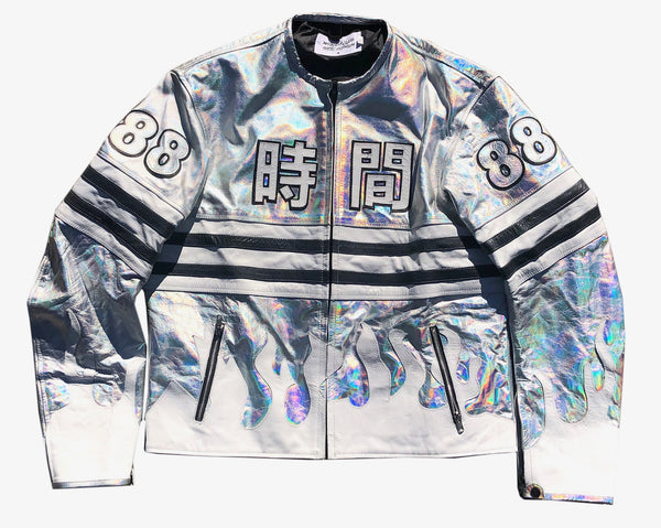 """Silver Surfer (Flame 88)"" Authentic Leather Moto Jacket"